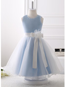 A-Line Knee-length Flower Girl Dress - Organza Sleeveless Scoop Neck With Beading/Flower(s)/Bow(s)