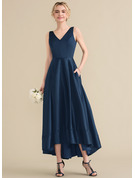 A-Line/Princess V-neck Asymmetrical Satin Prom Dresses With Pockets