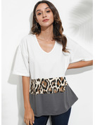 1/2 Sleeves Polyester V Neck T-shirt Blouses