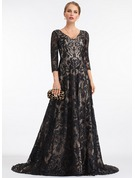 A-Line V-neck Sweep Train Lace Evening Dress