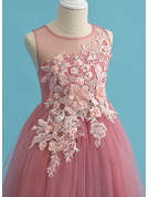 Ball-Gown/Princess Tea-length Flower Girl Dress - Tulle Sleeveless Scoop Neck With Lace Beading