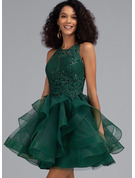Ball-Gown/Princess Scoop Neck Short/Mini Tulle Cocktail Dress With Sequins