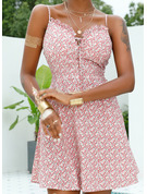 Floral Print A-line Spaghetti Straps Sleeveless Midi Sexy Vacation Skater Type Dresses