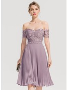 A-Line/Princess Off-the-Shoulder Knee-Length Chiffon Cocktail Dress With Beading Pleated