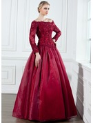 A-Line/Princess Off-the-Shoulder Floor-Length Organza Prom Dresses With Lace Beading