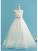 Ball-Gown/Princess Sweep Train Flower Girl Dress - Satin Tulle Lace Sleeveless Scoop Neck With Beading