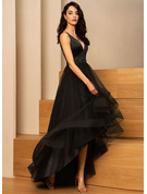 A-Line V-neck Asymmetrical Tulle Evening Dress With Beading