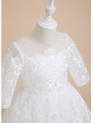 A-Line Knee-length Flower Girl Dress - Lace 1/2 Sleeves Scoop Neck