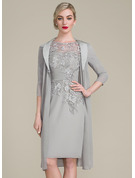 Sheath/Column Scoop Neck Knee-Length Chiffon Lace Mother of the Bride Dress