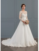 Ball-Gown Scoop Neck Court Train Organza Wedding Dress With Bow(s)