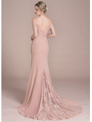 Trumpet/Mermaid Off-the-Shoulder Court Train Chiffon Lace Prom Dresses