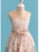 Ball-Gown/Princess Floor-length Flower Girl Dress - Tulle Lace Sleeveless Scoop Neck With Beading