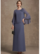 A-Line Scoop Neck Ankle-Length Chiffon Evening Dress With Flower(s)