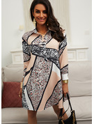 Leopard Shift Shirt collar Long Sleeves Midi Casual Tunic Dresses