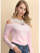 Long Sleeves Cotton Blends Polyester Round Neck Knit Blouses