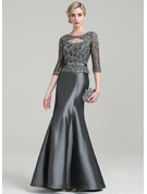 Trumpet/Mermaid Scoop Neck Floor-Length Taffeta Mother of the Bride Dress With Beading Appliques Lace Sequins