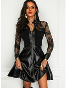 Lace Solid A-line High Neck Long Sleeves Midi Elegant Little Black Skater Dresses