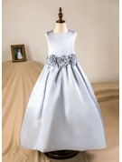 A-Line/Princess Floor-length Flower Girl Dress - Satin Sleeveless Square Neckline With Flower(s) (Petticoat NOT included)