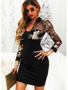 Floral Print Bodycon Shirt collar Long Sleeves Midi Elegant Dresses