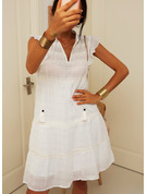 Lace Solid Shift V-Neck Cap Sleeve Midi Casual Vacation Dresses