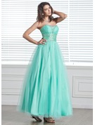 A-Line/Princess Sweetheart Ankle-Length Tulle Holiday Dress With Beading