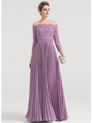 A-Line/Princess Off-the-Shoulder Floor-Length Chiffon Evening Dress With Pleated