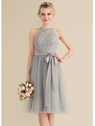 Scoop Neck Knee-Length Tulle Lace Bridesmaid Dress With Bow(s)