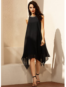 Scoop Neck Asymmetrical Chiffon Cocktail Dress