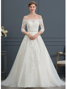 Ball-Gown Off-the-Shoulder Court Train Tulle Wedding Dress With Beading