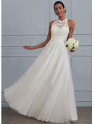 Scoop Neck Floor-Length Tulle Wedding Dress