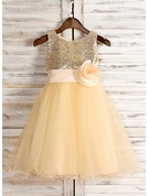 A-Line/Princess Tea-length Flower Girl Dress - Tulle/Sequined Sleeveless Scoop Neck With Sash/Flower(s)/Bow(s)