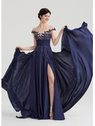 A-Line/Princess Scoop Neck Floor-Length Chiffon Satin Chiffon Evening Dress With Ruffle Beading Split Front