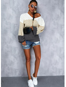 V-Neck Long Sleeves Regular Color Block Casual Pullovers