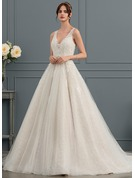 Ball-Gown V-neck Court Train Tulle Wedding Dress With Beading