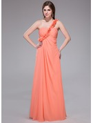 Empire One-Shoulder Floor-Length Chiffon Holiday Dress With Ruffle Flower(s)
