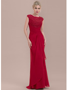 Sheath/Column Scoop Neck Floor-Length Chiffon Lace Bridesmaid Dress