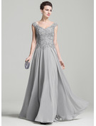 A-Line/Princess V-neck Floor-Length Chiffon Mother of the Bride Dress With Appliques Lace