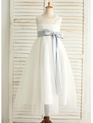 A-Line/Princess Floor-length Flower Girl Dress - Satin/Tulle Sleeveless Scoop Neck With Sash/Back Hole