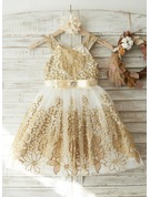 Knee-length Flower Girl Dress - Tulle Lace Sleeveless Straps With Bow(s)