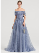 A-Line Off-the-Shoulder Sweep Train Tulle Prom Dresses With Sequins