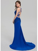 Sheath/Column V-neck Sweep Train Jersey Evening Dress With Split Front