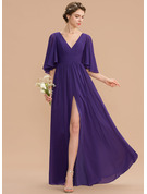 V-neck Floor-Length Chiffon Evening Dress With Ruffle Bow(s) Split Front