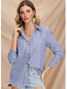 Manches longues Polyester Col à Revers Chemisier Blouses