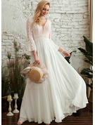 V-neck Floor-Length Wedding Dress