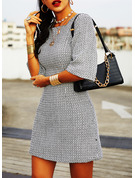 Print Bodycon Round Neck 1/2 Sleeves Midi Casual Elegant Dresses