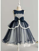 Ball-Gown/Princess Tea-length Flower Girl Dress - Tulle Lace Sleeveless Scoop Neck With Beading