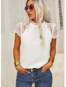 Regular Polyester Round Neck Lace Solid Fitted Blouses