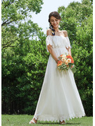 A-Line Off-the-Shoulder Ankle-Length Wedding Dress With Lace