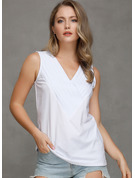 Sleeveless Cotton Blends V Neck Tank Tops Blouses