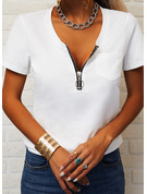 Regular Cotton Blends V-Neck Solid Fitted Blouses